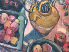 Lucy Dickens<br>Apples, oil jar and branches